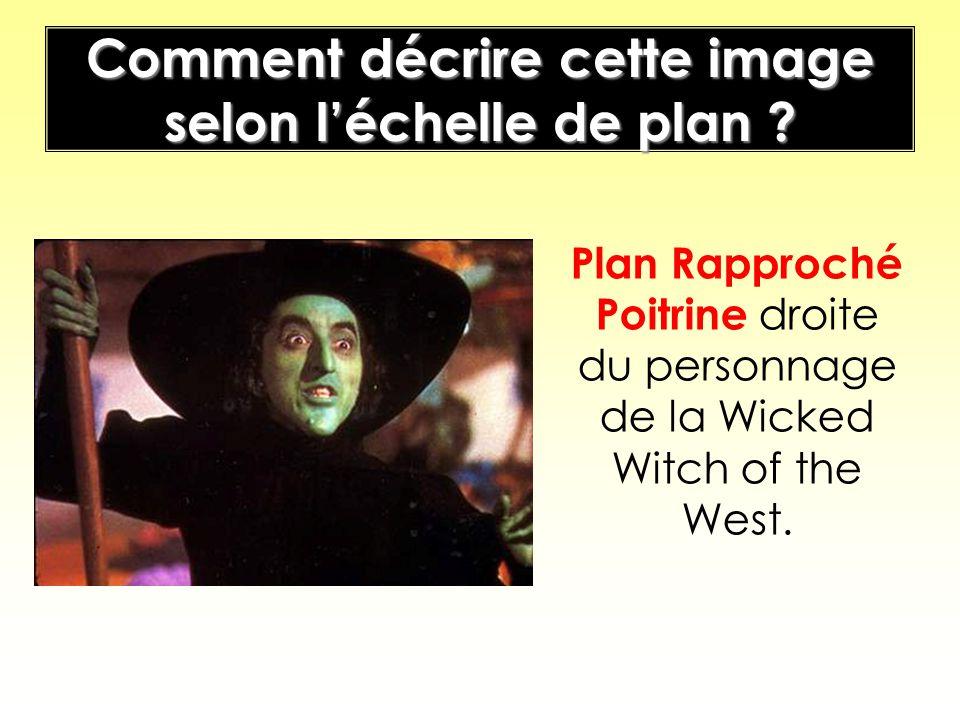 Comment décrire cette image selon léchelle de plan ? Plan Rapproché Poitrine droite du personnage de la Wicked Witch of the West.