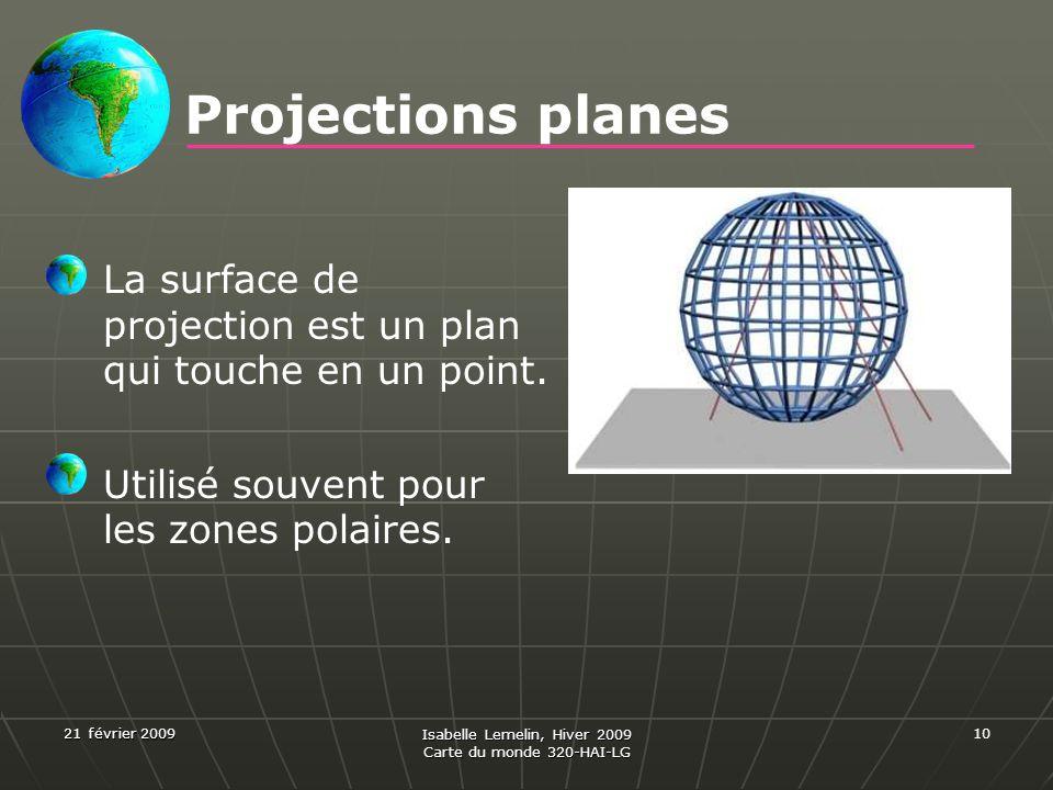 21 février 2009 Isabelle Lemelin, Hiver 2009 Carte du monde 320-HAI-LG 10 Projections planes La surface de projection est un plan qui touche en un poi