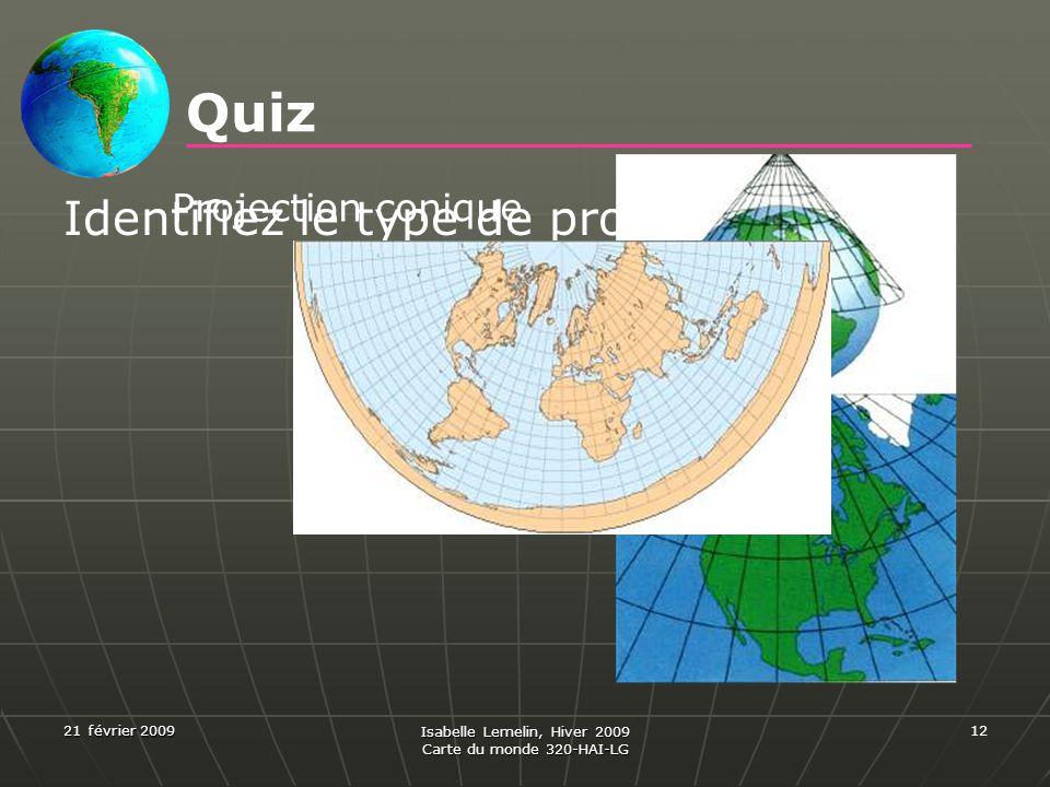 21 février 2009 Isabelle Lemelin, Hiver 2009 Carte du monde 320-HAI-LG 12 Quiz Identifiez le type de projection. Projection conique