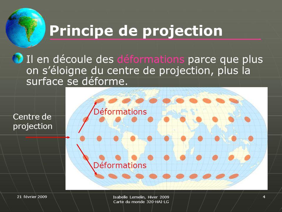 21 février 2009 Isabelle Lemelin, Hiver 2009 Carte du monde 320-HAI-LG 4 Il en découle des déformations parce que plus on séloigne du centre de projec