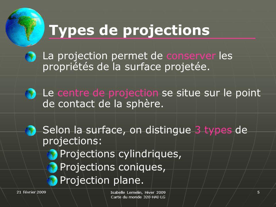 21 février 2009 Isabelle Lemelin, Hiver 2009 Carte du monde 320-HAI-LG 5 Types de projections La projection permet de conserver les propriétés de la s