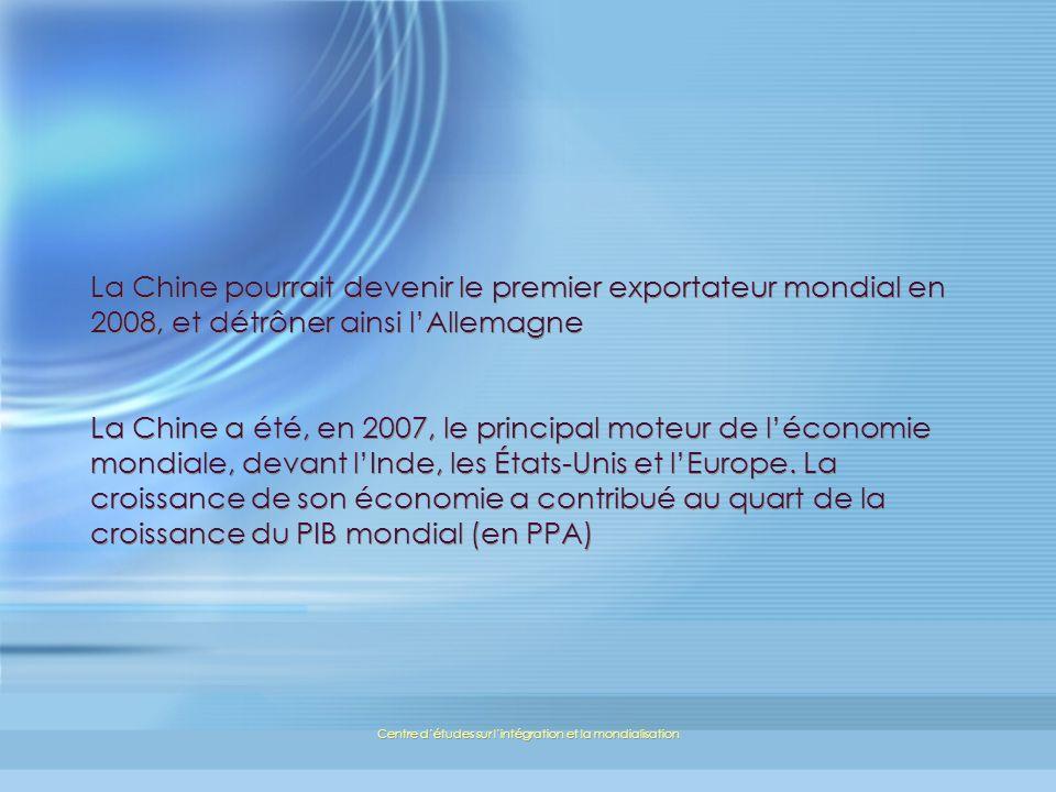 Centre détudes sur lintégration et la mondialisation La Chine pourrait devenir le premier exportateur mondial en 2008, et détrôner ainsi lAllemagne La Chine a été, en 2007, le principal moteur de léconomie mondiale, devant lInde, les États-Unis et lEurope.