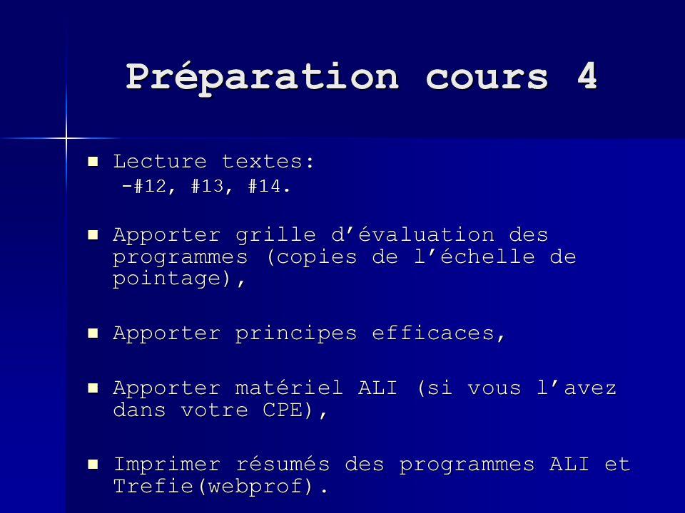 Préparation cours 4 Lecture textes: Lecture textes: -#12, #13, #14. Apporter grille dévaluation des programmes (copies de léchelle de pointage), Appor