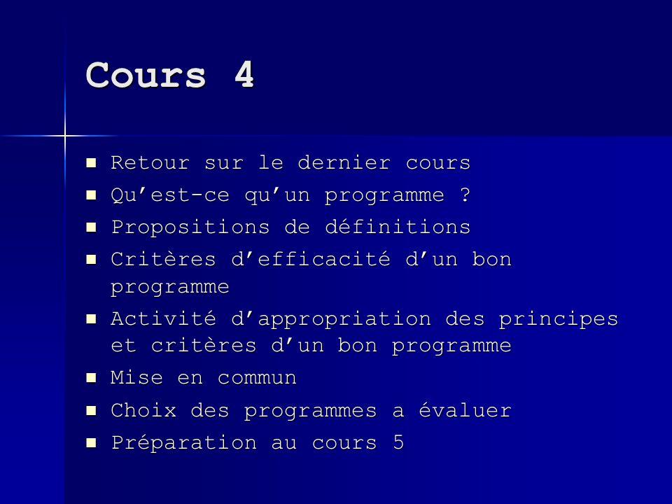Cours 4 Retour sur le dernier cours Retour sur le dernier cours Quest-ce quun programme ? Quest-ce quun programme ? Propositions de définitions Propos