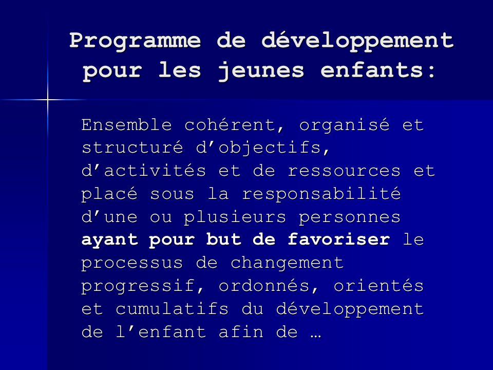 Programme de développement pour les jeunes enfants: Ensemble cohérent, organisé et structuré dobjectifs, dactivités et de ressources et placé sous la