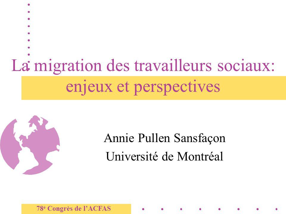 La migration des travailleurs sociaux: enjeux et perspectives Annie Pullen Sansfaçon Université de Montréal 78 e Congrès de lACFAS