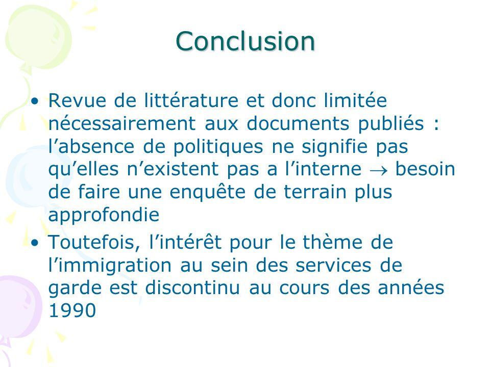 Conclusion Revue de littérature et donc limitée nécessairement aux documents publiés : labsence de politiques ne signifie pas quelles nexistent pas a