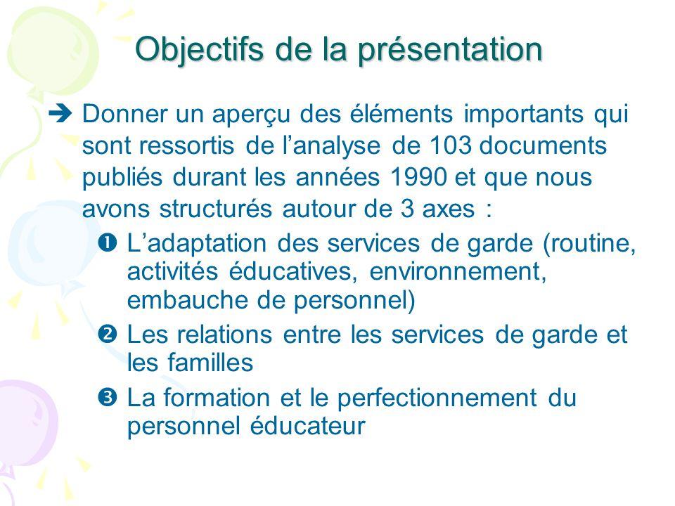 Objectifs de la présentation Donner un aperçu des éléments importants qui sont ressortis de lanalyse de 103 documents publiés durant les années 1990 e