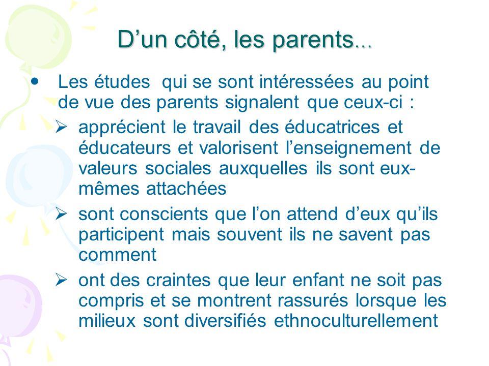 Dun côté, les parents … Les études qui se sont intéressées au point de vue des parents signalent que ceux-ci : apprécient le travail des éducatrices e