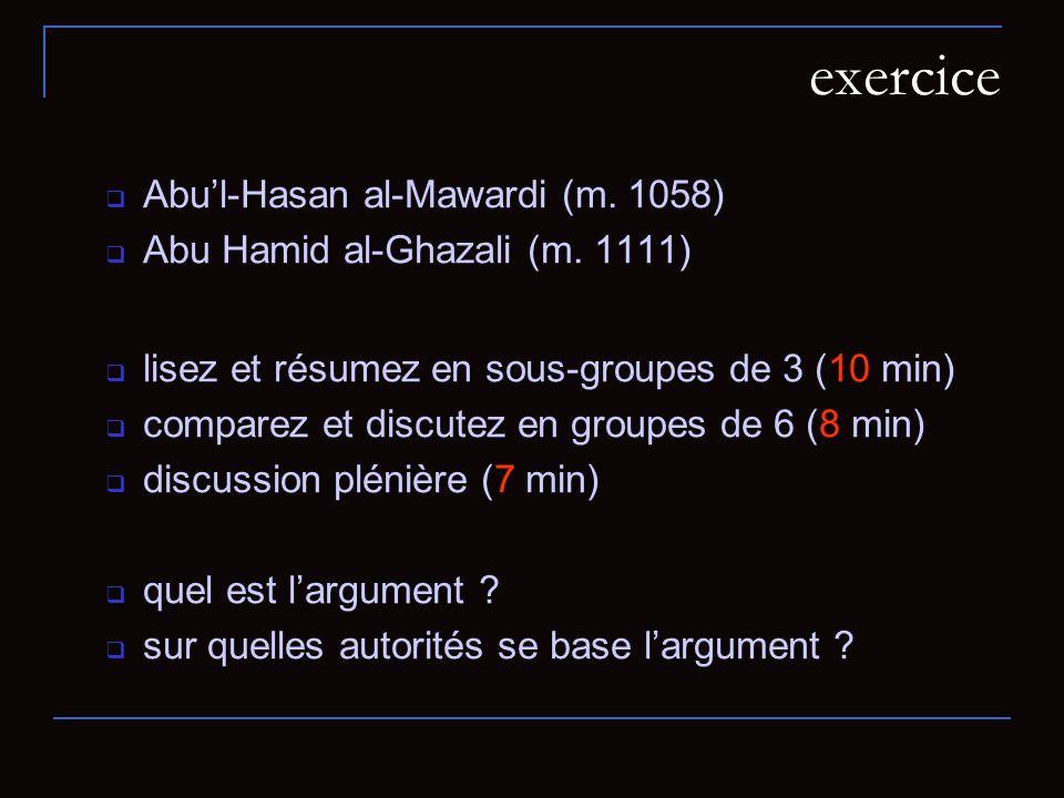 exercice Abul-Hasan al-Mawardi (m.1058) Abu Hamid al-Ghazali (m.