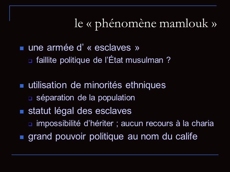 le « phénomène mamlouk » une armée d « esclaves » faillite politique de lÉtat musulman .
