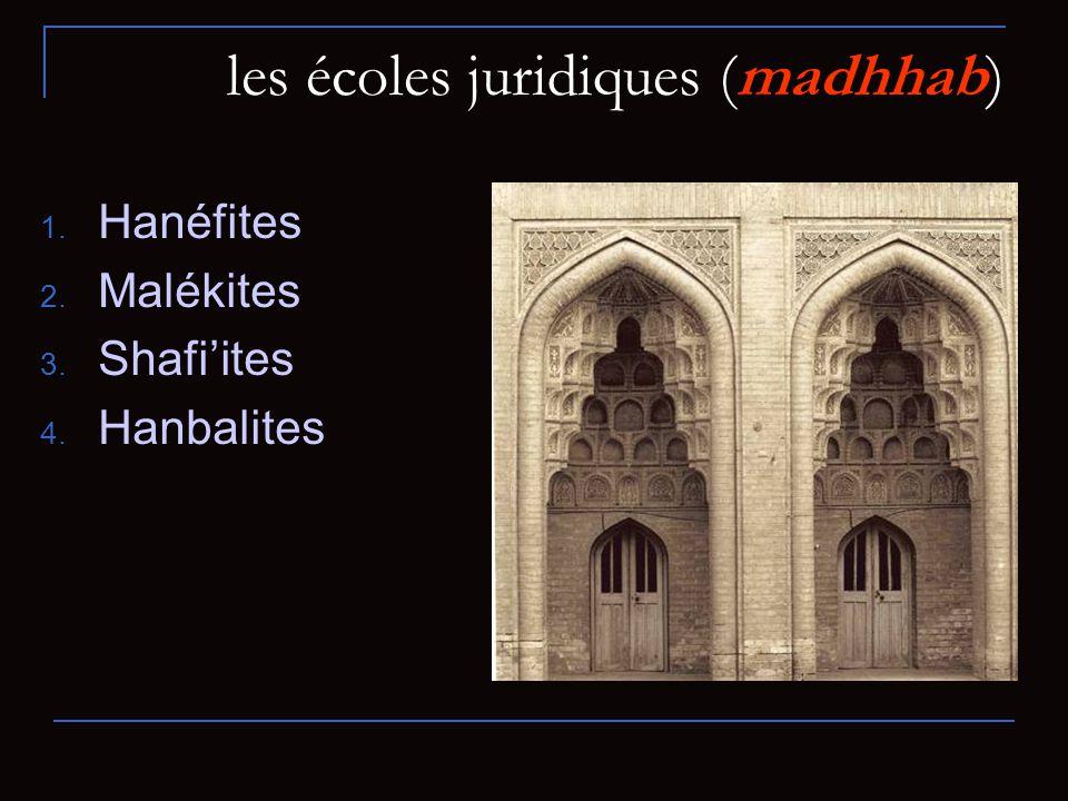 les écoles juridiques (madhhab) 1. Hanéfites 2. Malékites 3. Shafiites 4. Hanbalites