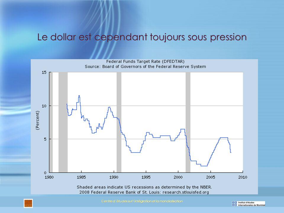 Centre détudes sur lintégration et la mondialisation Le dollar est cependant toujours sous pression