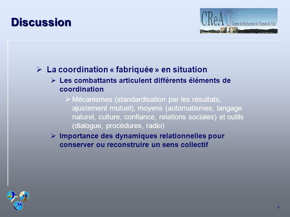 9 Discussion La coordination « fabriquée » en situation Les combattants articulent différents éléments de coordination Mécanismes (standardisation par