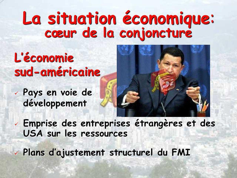 La situation économique: cœur de la conjoncture Léconomiesud-américaine Pays en voie de Pays en voie dedéveloppement Emprise des entreprises étrangères et des USA sur les ressources Emprise des entreprises étrangères et des USA sur les ressources Plans dajustement structurel du FMI Plans dajustement structurel du FMI