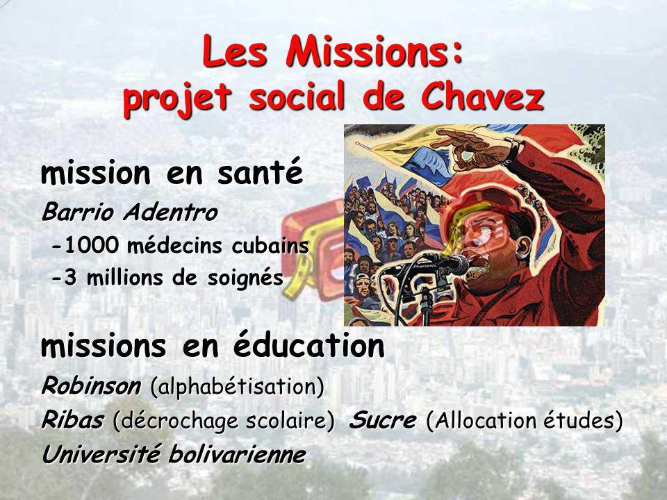 Les Missions: projet social de Chavez mission en santé Barrio Adentro -1000 médecins cubains -1000 médecins cubains -3 millions de soignés -3 millions de soignés missions en éducation Robinson (alphabétisation) Ribas (décrochage scolaire) Sucre (Allocation études) Université bolivarienne