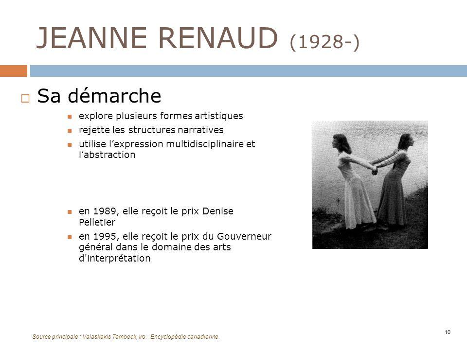 JEANNE RENAUD (1928-) Sa démarche explore plusieurs formes artistiques rejette les structures narratives utilise lexpression multidisciplinaire et lab