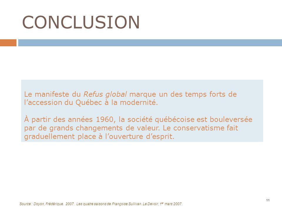 CONCLUSION 11 Le manifeste du Refus global marque un des temps forts de laccession du Québec à la modernité. À partir des années 1960, la société québ