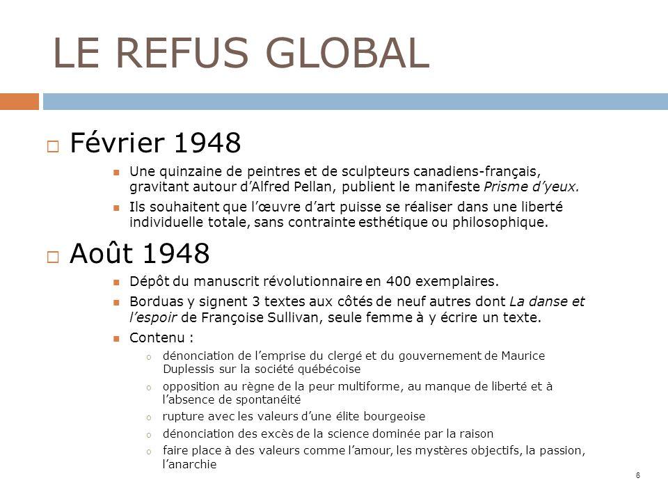 LE REFUS GLOBAL Février 1948 Une quinzaine de peintres et de sculpteurs canadiens-français, gravitant autour dAlfred Pellan, publient le manifeste Pri