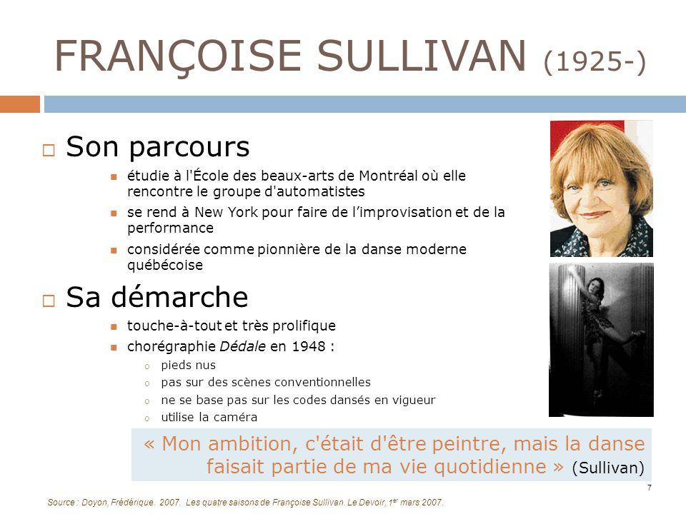 FRANÇOISE SULLIVAN (1925-) Son parcours étudie à l'École des beaux-arts de Montréal où elle rencontre le groupe d'automatistes se rend à New York pour