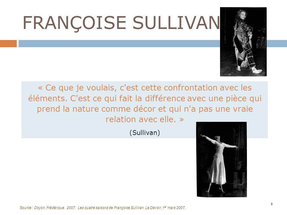 FRANÇOISE SULLIVAN 8 « Ce que je voulais, c'est cette confrontation avec les éléments. C'est ce qui fait la différence avec une pièce qui prend la nat