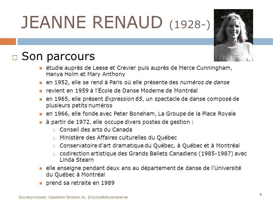 JEANNE RENAUD (1928-) Sa démarche explore plusieurs formes artistiques rejette les structures narratives utilise lexpression multidisciplinaire et labstraction en 1989, elle reçoit le prix Denise Pelletier en 1995, elle reçoit le prix du Gouverneur général dans le domaine des arts d interprétation 10 Source principale : Valaskakis Tembeck, Iro.