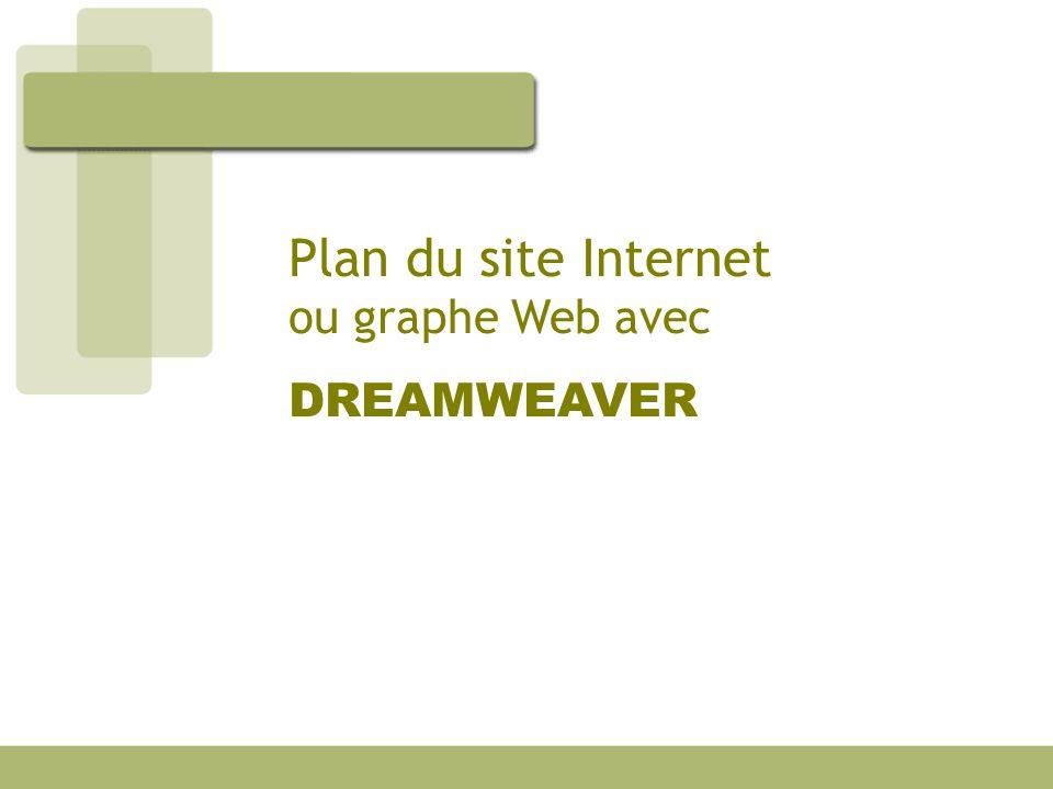 Plan du site Internet ou graphe Web avec DREAMWEAVER
