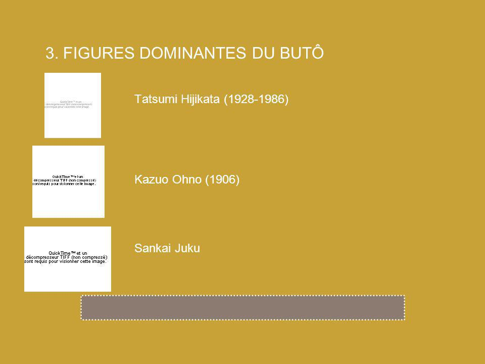 Tatsumi Hijikata (1928-1986) 3. FIGURES DOMINANTES DU BUTÔ Kazuo Ohno (1906) Sankai Juku