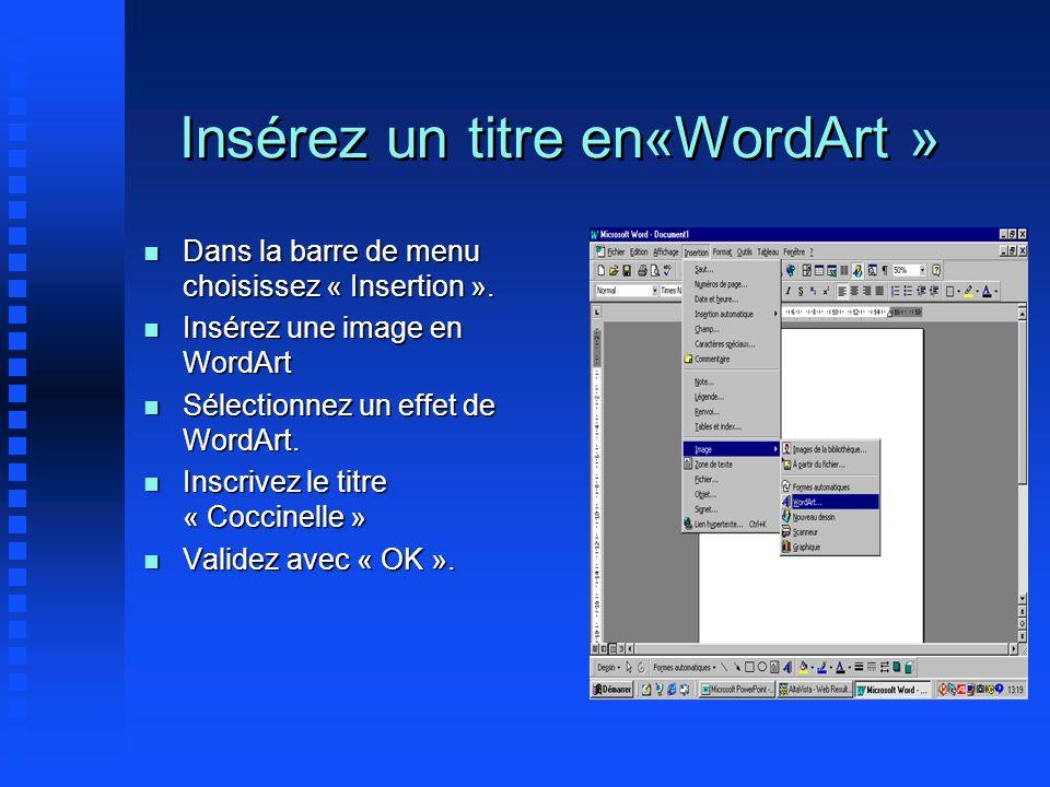 Insérez un titre en«WordArt » Dans la barre de menu choisissez « Insertion ». Dans la barre de menu choisissez « Insertion ». Insérez une image en Wor