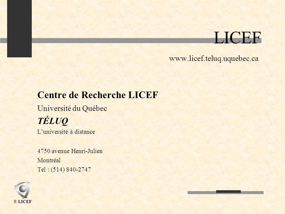 © LICEF LICEF www.licef.teluq.uquebec.ca Centre de Recherche LICEF Université du Québec TÉLUQ Luniversité à distance 4750 avenue Henri-Julien Montréal Tel : (514) 840-2747