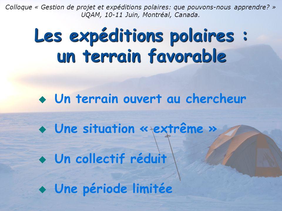 Les expéditions polaires : un terrain favorable Un terrain ouvert au chercheur Une situation « extrême » Un collectif réduit Une période limitée Colloque « Gestion de projet et expéditions polaires: que pouvons-nous apprendre.