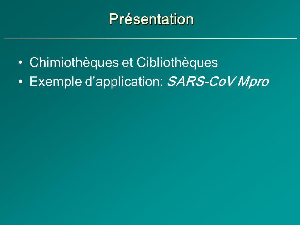 Présentation Chimiothèques et Cibliothèques Exemple dapplication: SARS-CoV Mpro
