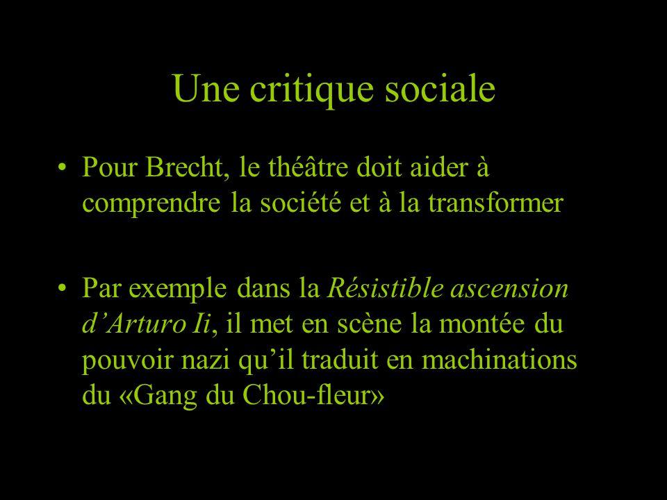 Une critique sociale Pour Brecht, le théâtre doit aider à comprendre la société et à la transformer Par exemple dans la Résistible ascension dArturo I