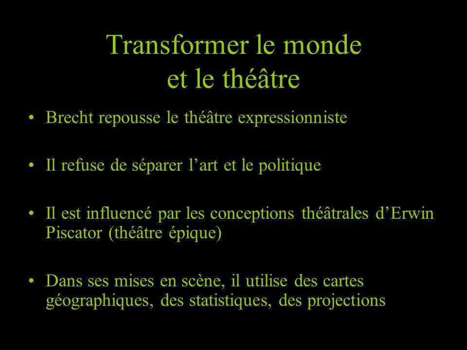Brecht repousse le théâtre expressionniste Il refuse de séparer lart et le politique Il est influencé par les conceptions théâtrales dErwin Piscator (