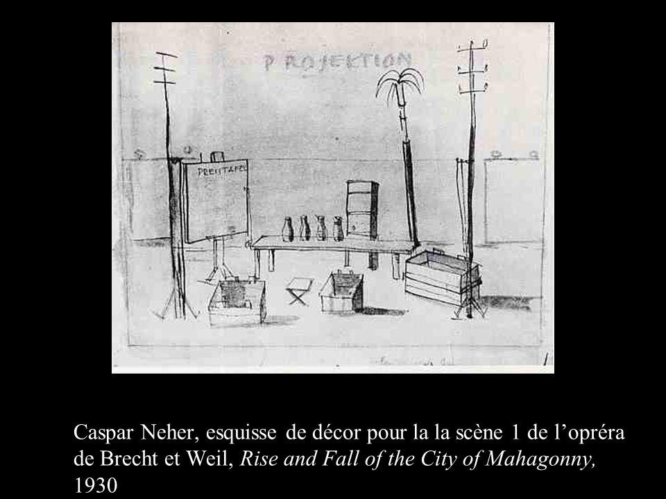 Caspar Neher, esquisse de décor pour la la scène 1 de lopréra de Brecht et Weil, Rise and Fall of the City of Mahagonny, 1930