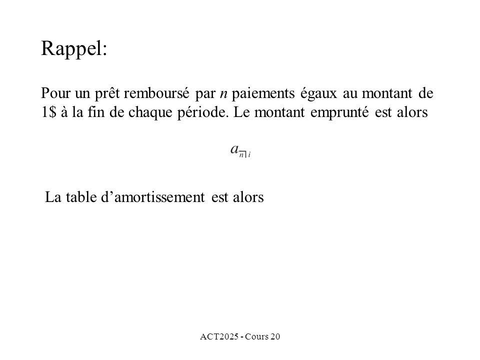 ACT2025 - Cours 20 Pour un prêt remboursé par n paiements égaux au montant de 1$ à la fin de chaque période.