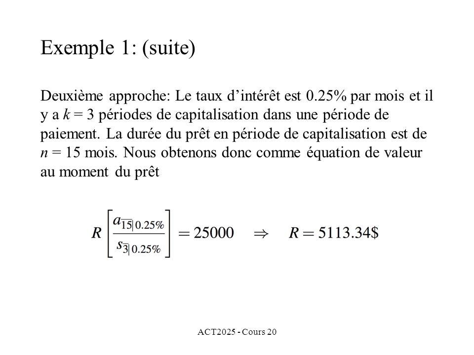 ACT2025 - Cours 20 Deuxième approche: Le taux dintérêt est 0.25% par mois et il y a k = 3 périodes de capitalisation dans une période de paiement.