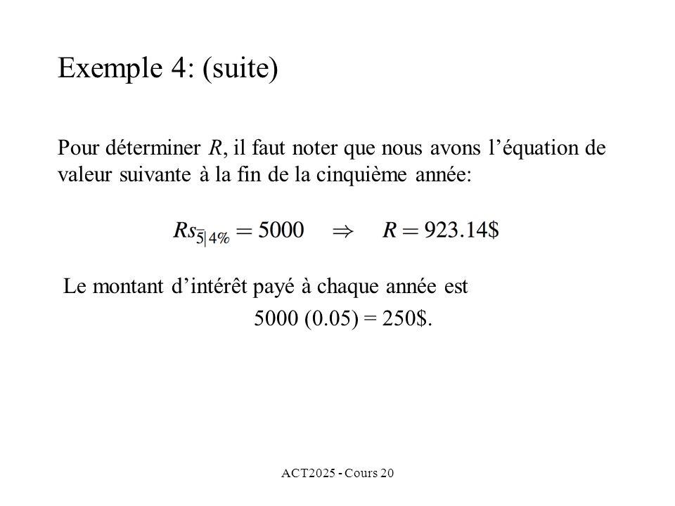 ACT2025 - Cours 20 Pour déterminer R, il faut noter que nous avons léquation de valeur suivante à la fin de la cinquième année: Le montant dintérêt payé à chaque année est 5000 (0.05) = 250$.