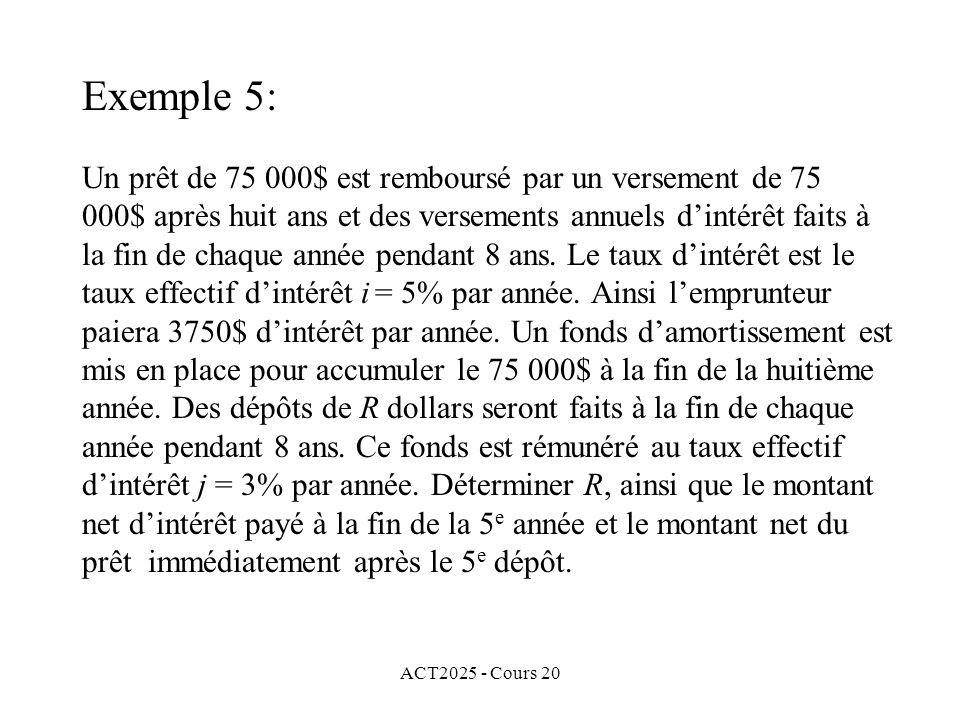 ACT2025 - Cours 20 Un prêt de 75 000$ est remboursé par un versement de 75 000$ après huit ans et des versements annuels dintérêt faits à la fin de chaque année pendant 8 ans.
