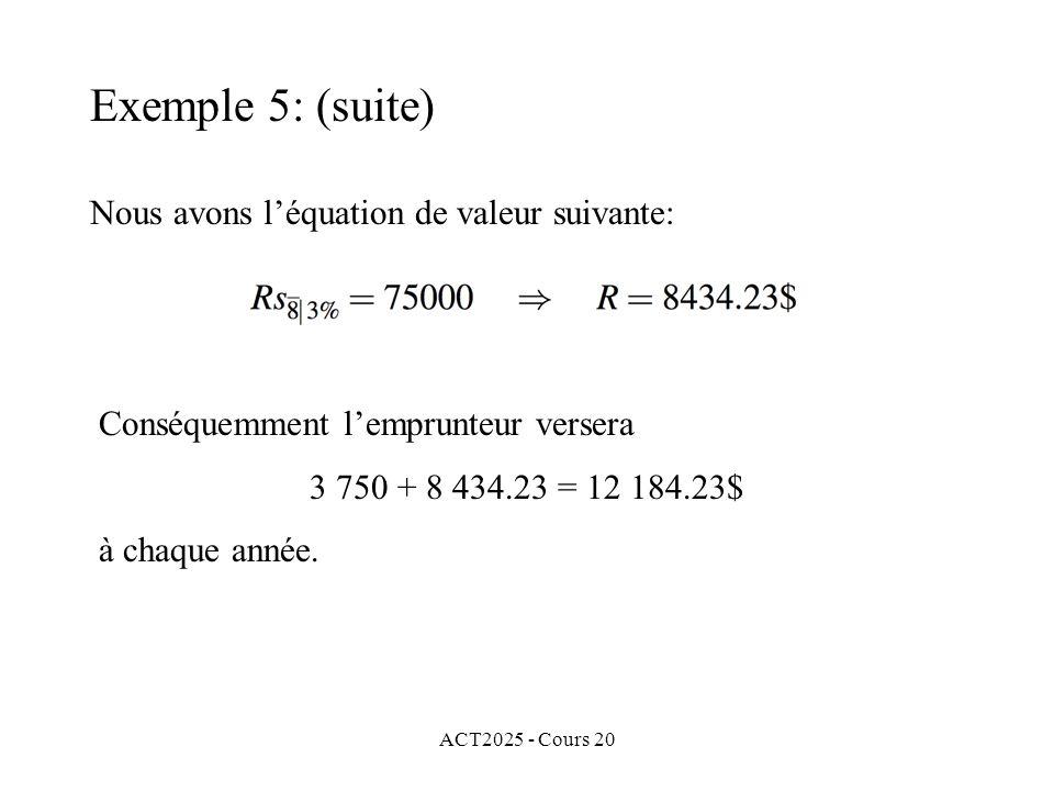 ACT2025 - Cours 20 Nous avons léquation de valeur suivante: Conséquemment lemprunteur versera 3 750 + 8 434.23 = 12 184.23$ à chaque année.