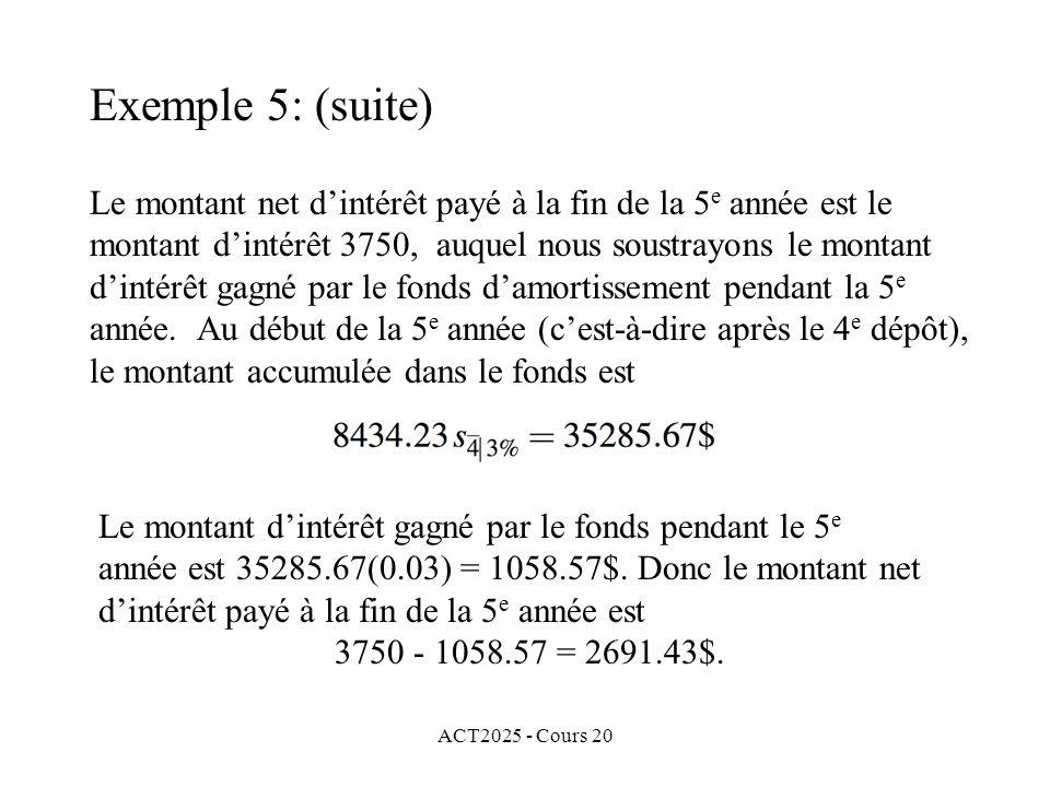 ACT2025 - Cours 20 Le montant net dintérêt payé à la fin de la 5 e année est le montant dintérêt 3750, auquel nous soustrayons le montant dintérêt gagné par le fonds damortissement pendant la 5 e année.