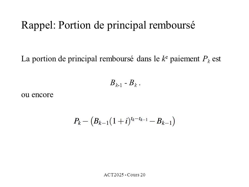 ACT2025 - Cours 20 La portion dintérêt du k e paiement P k est P k - (B k-1 - B k ).