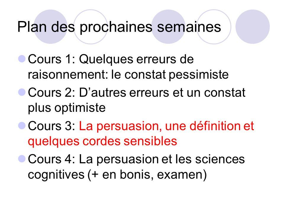 Plan des prochaines semaines Cours 1: Quelques erreurs de raisonnement: le constat pessimiste Cours 2: Dautres erreurs et un constat plus optimiste Cours 3: La persuasion, une définition et quelques cordes sensibles Cours 4: La persuasion et les sciences cognitives (+ en bonis, examen)