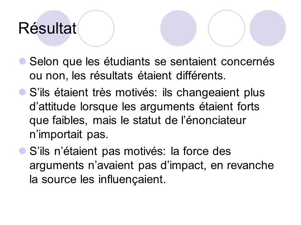 Variante Le contenu du message (la qualité des arguments: bons ou bancals) La personne qui énonce le message (un prestigieux professeur ou un étudiant