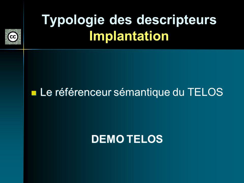 Typologie des descripteurs Implantation Le référenceur sémantique du TELOS Le référenceur sémantique du TELOS DEMO TELOS DEMO TELOS