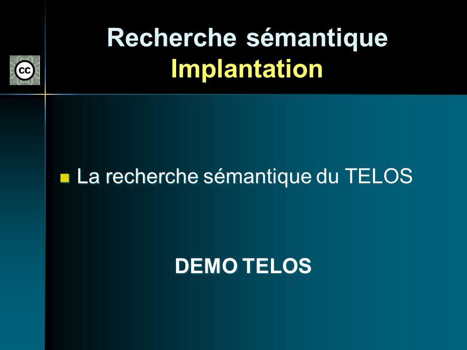 Recherche sémantique Implantation La recherche sémantique du TELOS La recherche sémantique du TELOS DEMO TELOS DEMO TELOS