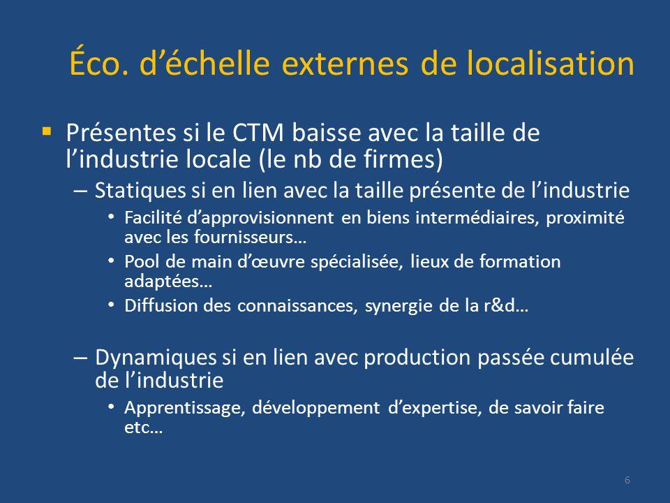 Éco. déchelle externes de localisation Présentes si le CTM baisse avec la taille de lindustrie locale (le nb de firmes) – Statiques si en lien avec la