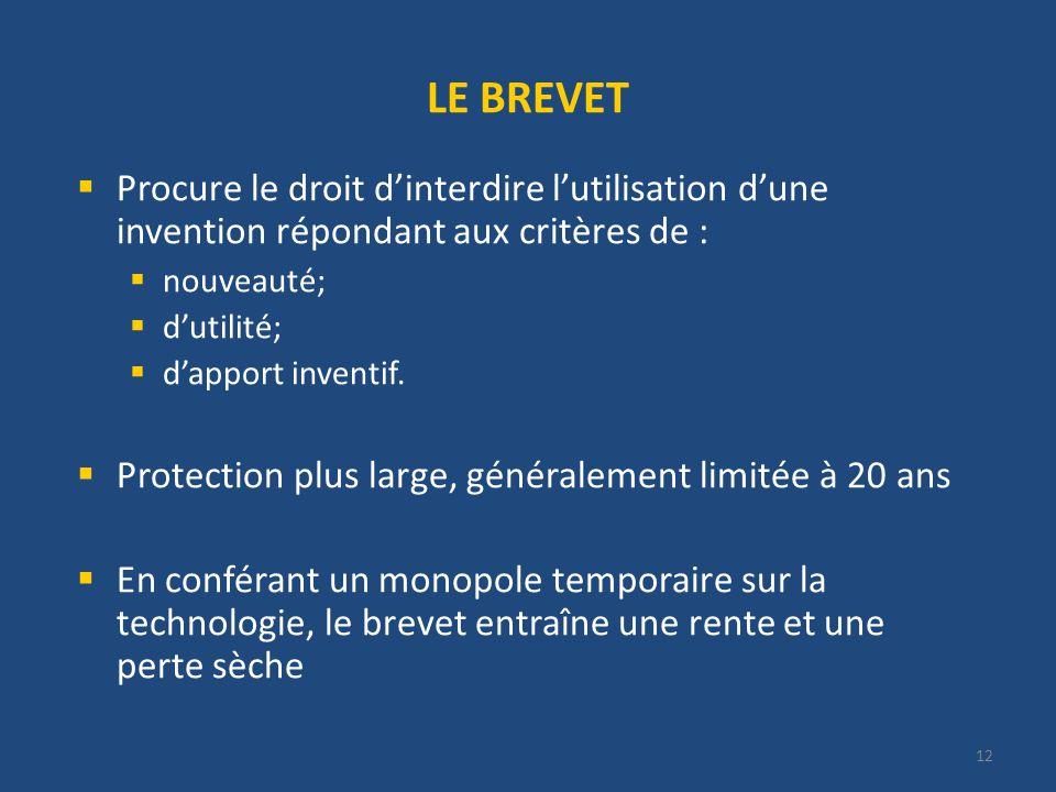 12 LE BREVET Procure le droit dinterdire lutilisation dune invention répondant aux critères de : nouveauté; dutilité; dapport inventif.