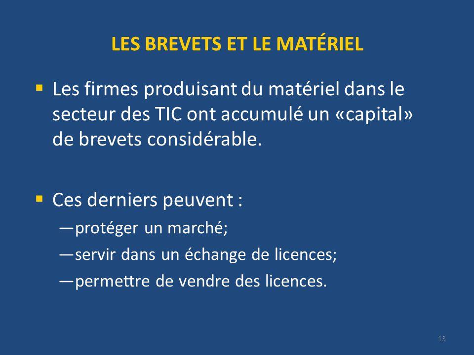 13 LES BREVETS ET LE MATÉRIEL Les firmes produisant du matériel dans le secteur des TIC ont accumulé un «capital» de brevets considérable.