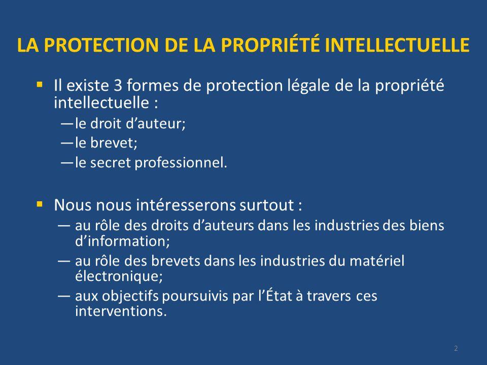 2 LA PROTECTION DE LA PROPRIÉTÉ INTELLECTUELLE Il existe 3 formes de protection légale de la propriété intellectuelle : le droit dauteur; le brevet; le secret professionnel.